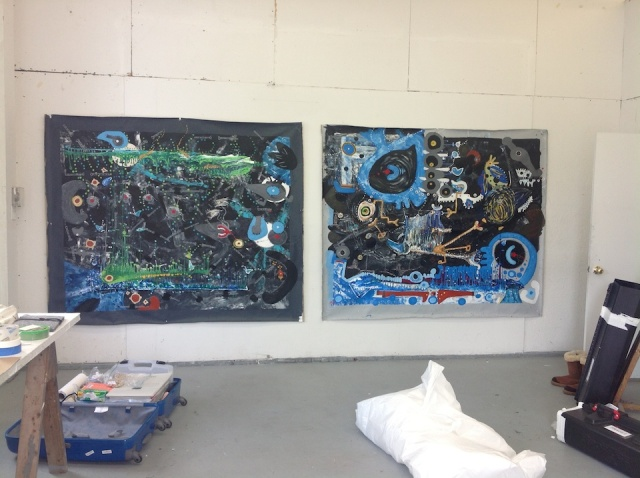 Two large acrylic painting that I worked on while at VSC.