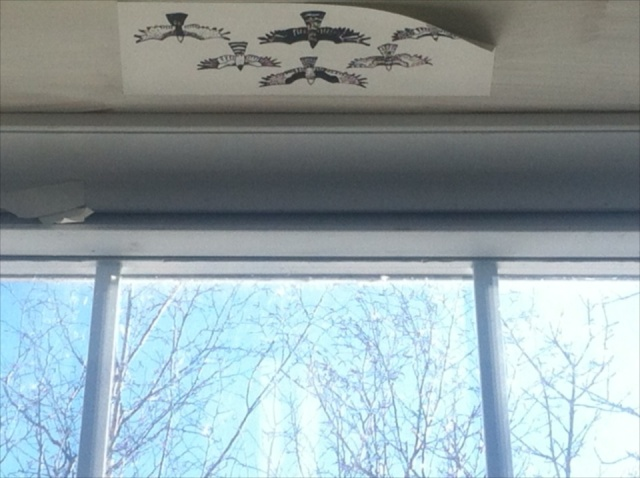 A previous person left this lovely drawing of birds flying out of the window at VSC